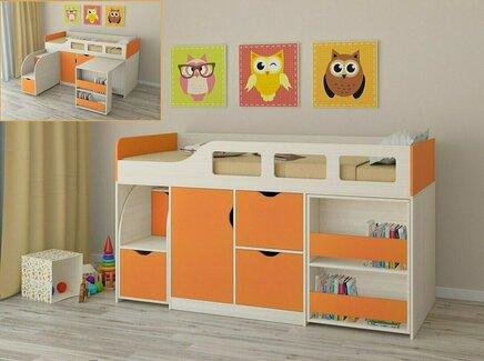Кровать-чердак астра (рв-мебель) оранжевый 194.2x84.6x108 см.