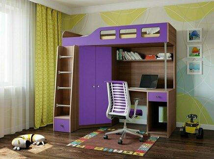 Кровать-чердак астра 7 (рв-мебель) фиолетовый 198.2x114x186 см.