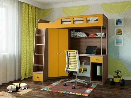 Кровать-чердак астра (рв-мебель) оранжевый 198.2x114x186 см.