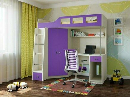 Кровать-чердак астра (рв-мебель) фиолетовый 198.2x114x186 см.