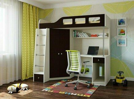 Кровать-чердак астра (рв-мебель) коричневый 198.2x114x186 см.