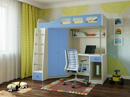 Кровать-чердак астра (рв-мебель) голубой 198.2x114x186 см.