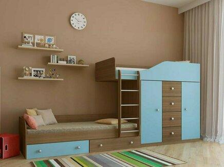 Кровать двухъярусная астра (рв-мебель) голубой 333.2x89.5x155.1 см.