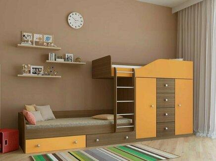 Кровать двухъярусная астра (рв-мебель) оранжевый 333.2x89.5x155.1 см.