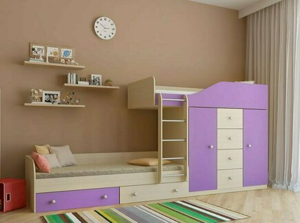 Кровать двухъярусная астра (рв-мебель) фиолетовый 333.2x89.5x155.1 см.
