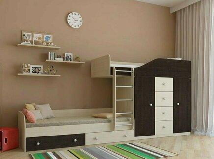 Кровать двухъярусная астра (рв-мебель) коричневый 333.2x89.5x155.1 см.
