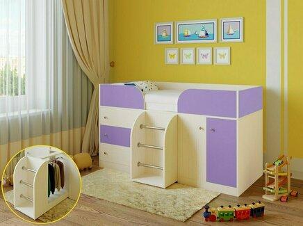 Кровать-чердак астра (рв-мебель) фиолетовый 193.2x89.5x155.1 см.