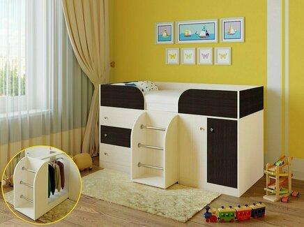 Кровать-чердак астра (рв-мебель) коричневый 193.2x89.5x155.1 см.