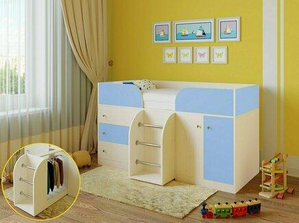 Кровать-чердак астра (рв-мебель) голубой 193.2x89.5x155.1 см.