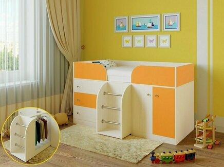 Кровать-чердак астра (рв-мебель) оранжевый 193.2x89.5x155.1 см.