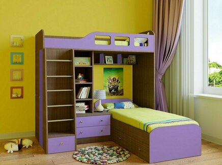 Кровать двухъярусная астра (рв-мебель) фиолетовый 198.2x198.2x187 см.