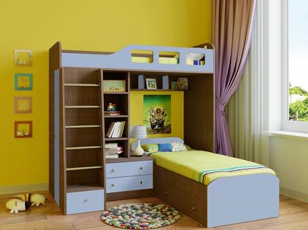 Кровать двухъярусная астра (рв-мебель) голубой 198.2x198.2x187 см.