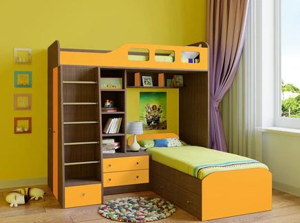 Кровать двухъярусная астра (рв-мебель) оранжевый 198.2x198.2x187 см.