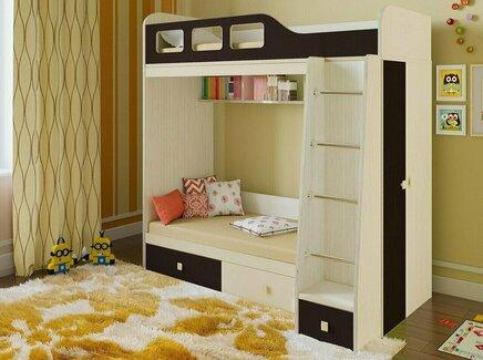 Кровать двухъярусная астра (рв-мебель) коричневый 198.2x113.2x188.5 см.