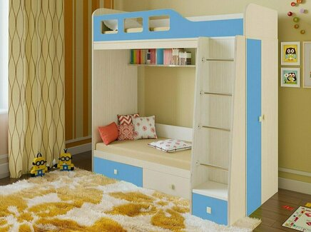 Кровать двухъярусная астра (рв-мебель) голубой 198.2x113.2x188.5 см.