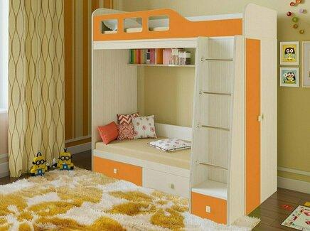 Кровать двухъярусная астра (рв-мебель) оранжевый 198.2x113.2x188.5 см.