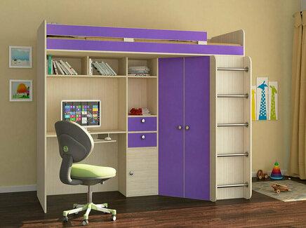 Кровать-чердак астра (рв-мебель) фиолетовый 201.5x185.5x99.5 см.