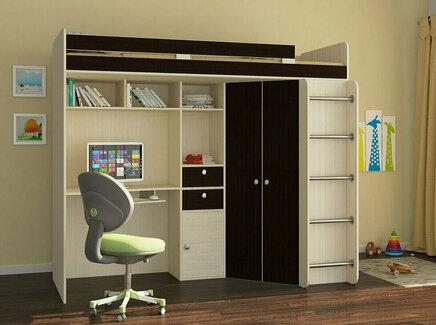 Кровать-чердак астра (рв-мебель) коричневый 201.5x185.5x99.5 см.