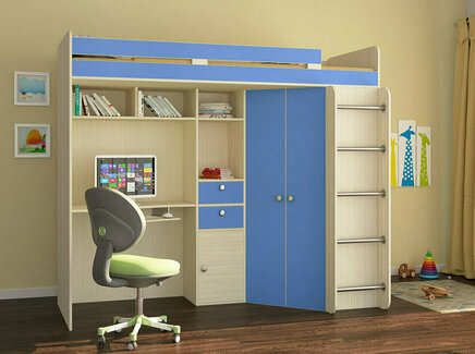 Кровать-чердак астра (рв-мебель) голубой 201.5x185.5x99.5 см.