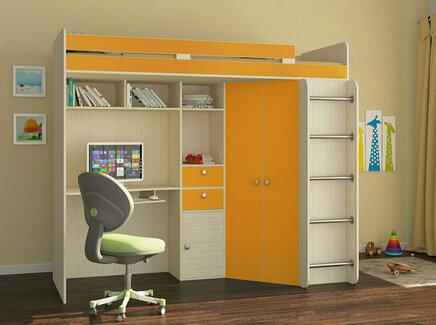 Кровать-чердак астра (рв-мебель) оранжевый 201.5x185.5x99.5 см.