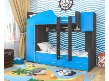 Кровать двухъярусная «юниор 2» (ярофф) голубой 231x185x83 см.