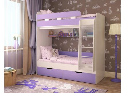 Кровать двухъярусная «юниор 5» (ярофф) фиолетовый 193x201x83 см.