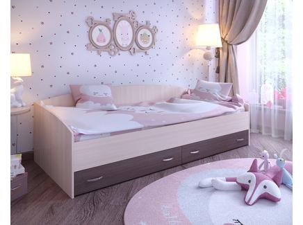 Кровать с выкатными ящиками (ярофф) синий 2032x650x932 см.