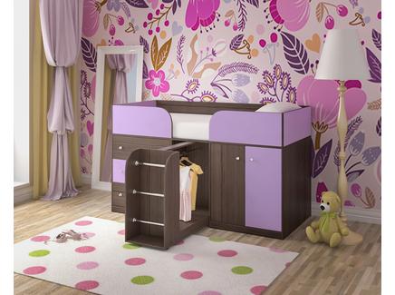Кровать чердак «малыш 4» (ярофф) фиолетовый 1832x1130x832 см.