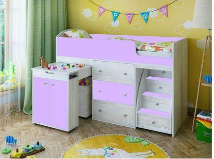 Кровать чердак «малыш» (ярофф) фиолетовый 1632x1130x732 см.