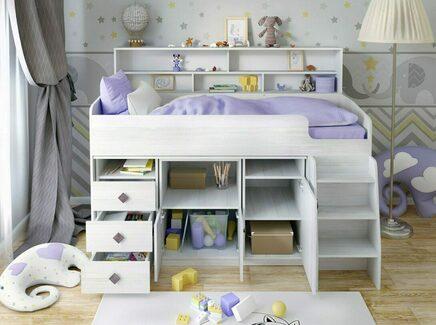 Кровать-чердак «малыш 5» (ярофф) белый 1864x1400x1130 см.