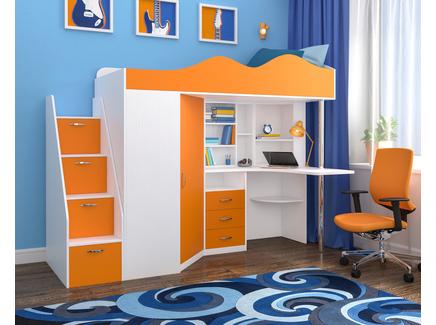 Кровать-чердак «пионер 1» (ярофф) оранжевый 233x170x83 см.