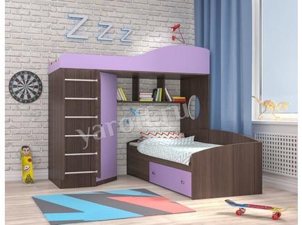 Кровать-чердак «кадет 2» (ярофф) фиолетовый 1932x1716x832 см.