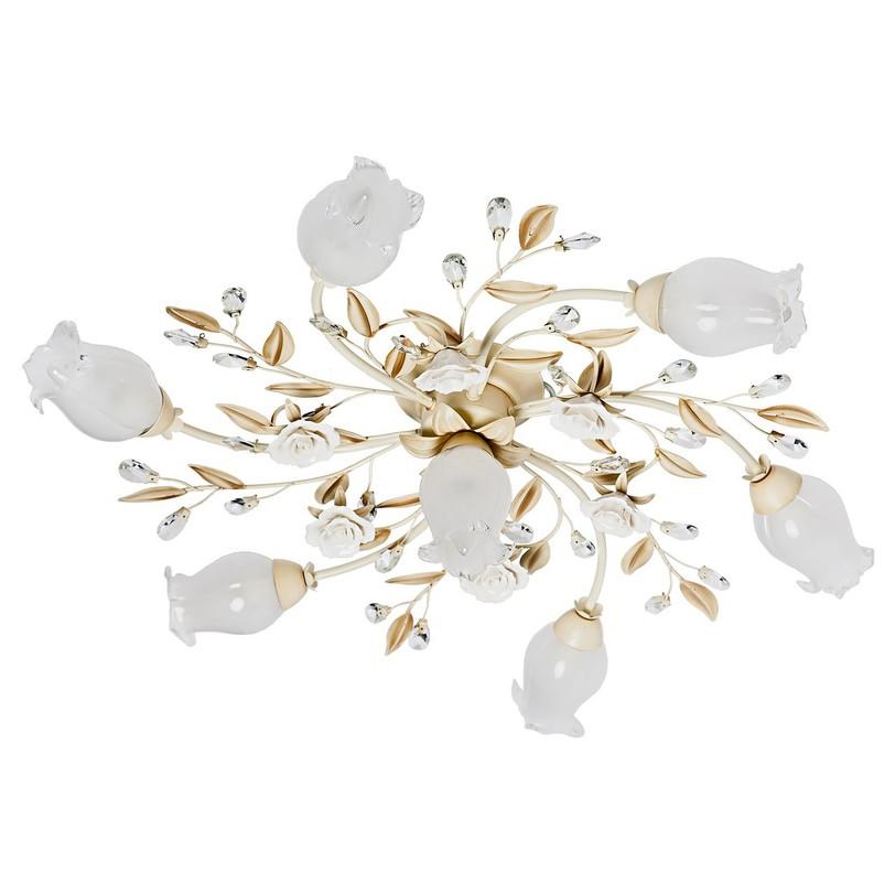 Люстра РосаЛюстры потолочные<br>Крашеное металлическое основание цвета слоновой кости, декоративные элементы из хрусталя и керамики.<br>7*40W E14 220 V<br><br>Material: Стекло<br>Height см: 21<br>Diameter см: 80