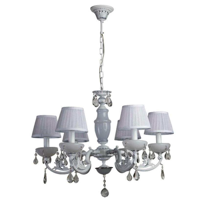 Люстра СеленаЛюстры подвесные<br>&amp;lt;div&amp;gt;Крашеное металлическое основание белого цвета, абажуры из органзы, декоративные элементы из хрусталя и стекла. Длина подвеса - 25 см.&amp;lt;/div&amp;gt;&amp;lt;div&amp;gt;&amp;lt;br&amp;gt;&amp;lt;/div&amp;gt;&amp;lt;div&amp;gt;Вид цоколя: E14&amp;lt;/div&amp;gt;&amp;lt;div&amp;gt;Мощность: &amp;amp;nbsp;40W&amp;amp;nbsp;&amp;lt;/div&amp;gt;&amp;lt;div&amp;gt;Количество ламп: 6 (нет в комплекте)&amp;lt;/div&amp;gt;<br><br>Material: Металл<br>Height см: 90<br>Diameter см: 70