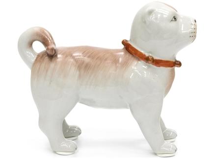 Статуэтка собака (glasar) белый 5x12x15 см.