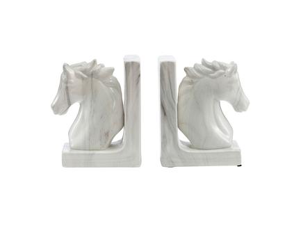 Держатели для книг белая лошадь (2 шт) (glasar) белый 10.67x19.05x16.51 см.