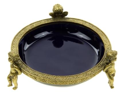 Блюдо (glasar) синий 13.0x5.0x13.0 см.