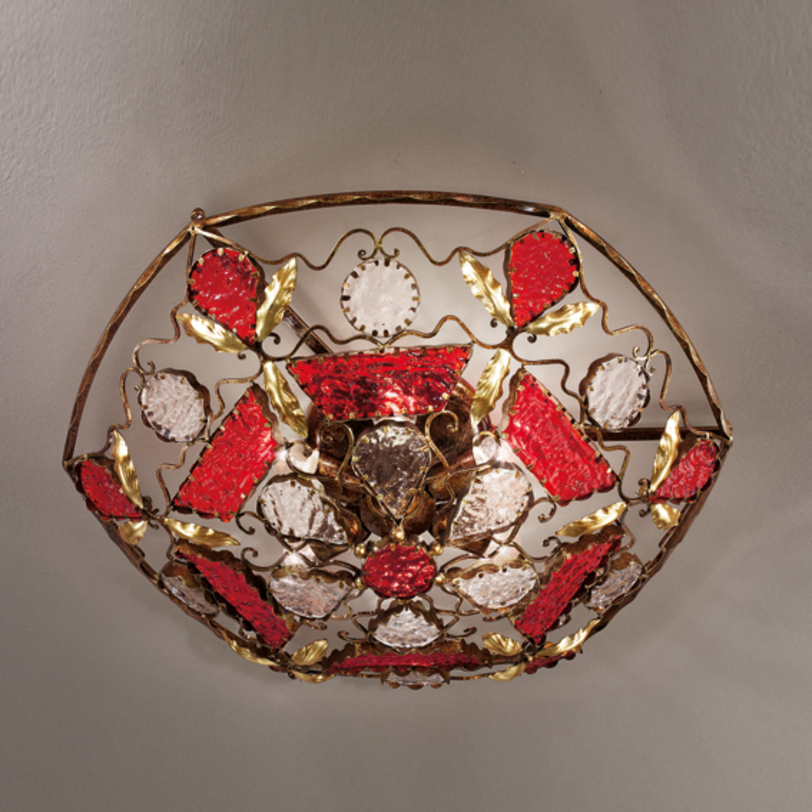 Светильник  DecoПотолочные светильники<br>Потолочный светильник из кованного металла с оригинальным дизайном. Плафон состоит из множества стеклянных элементов из муранского стекла красного и прозрачного цвета. Цвет арматуры: бронзовый с золотом.&amp;amp;nbsp;&amp;lt;div&amp;gt;&amp;lt;br&amp;gt;&amp;lt;/div&amp;gt;&amp;lt;div&amp;gt;Вид цоколя: E27. Мощность: 60W. Количество ламп: 6.&amp;lt;/div&amp;gt;<br><br>Material: Стекло<br>Height см: 23<br>Diameter см: 70