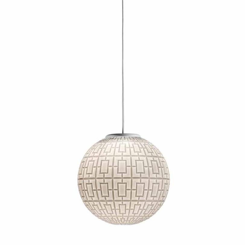 Светильник ArabesqueПодвесные светильники<br>Подвесной светильник со стеклянным плафоном белого цвета с орнаментом. Цвет арматуры: никель. Высота светильника регулируется.<br>1X MAX 100W E27<br><br>Material: Стекло<br>Height см: 25.0<br>Diameter см: 25.0