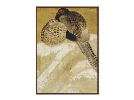 Картина два фазана на заснеженном берегу (картины в квартиру) мультиколор 75x105 см.