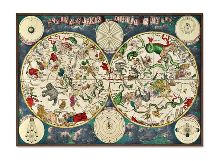 Картина карта созвездий (картины в квартиру) мультиколор 105x75 см.