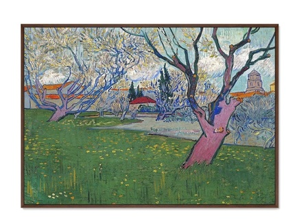 Картина view of arles with trees in blossom 1889г. (картины в квартиру) мультиколор 105x75 см.