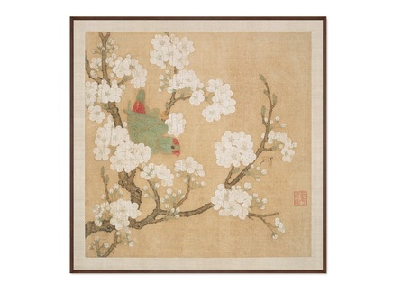 Картина попугай в ветвях персикового дерева (картины в квартиру) мультиколор 105x105 см.