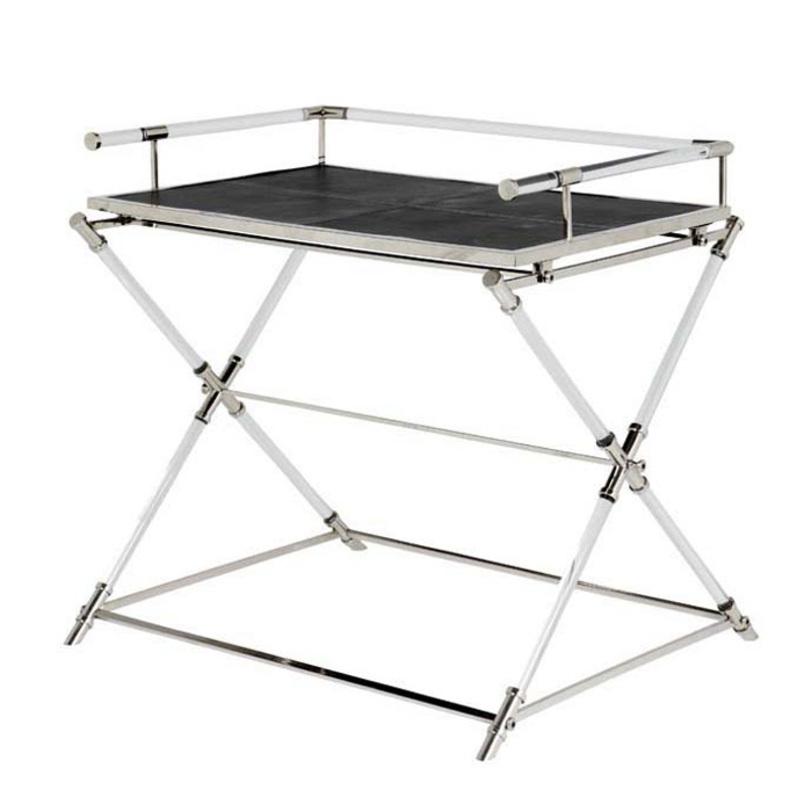 Столик MontaigneСервировочные столики<br>Столик с элементами из оргстекла и кожи черного цвета.&amp;lt;div&amp;gt;Цвет арматуры: никель.&amp;lt;/div&amp;gt;&amp;lt;div&amp;gt;Столик не складывается.&amp;lt;br&amp;gt;&amp;lt;/div&amp;gt;<br><br>Material: Кожа<br>Ширина см: 89.0<br>Высота см: 84.0<br>Глубина см: 70.0