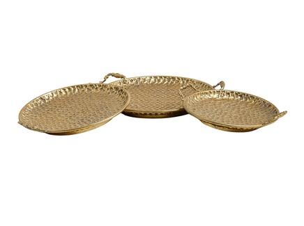 Набор блюд (glasar) золотой 44x7x39 см.