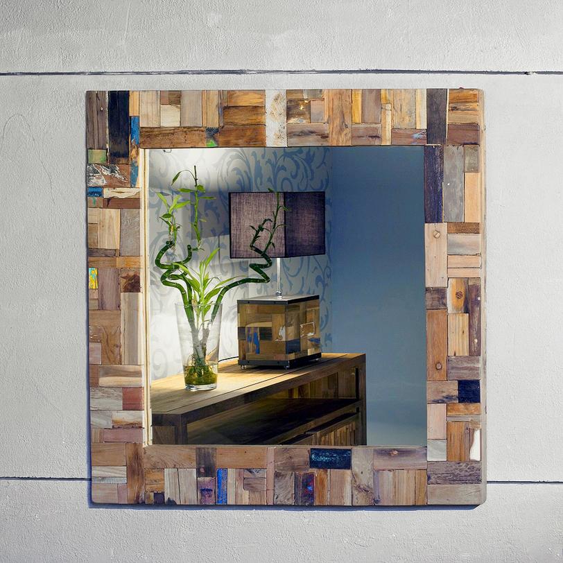 """Зеркало """"Ferum""""Настенные зеркала<br>Как и все предметы этой серии, рама зеркала выполнена из разноцветных кусочков дерева. Крашеные и натуральные, темные и светлые, они складываются в пеструю мозаику.<br><br>Material: Тик<br>Length см: 100.0<br>Width см: 100.0<br>Depth см: None<br>Height см: None<br>Diameter см: None"""