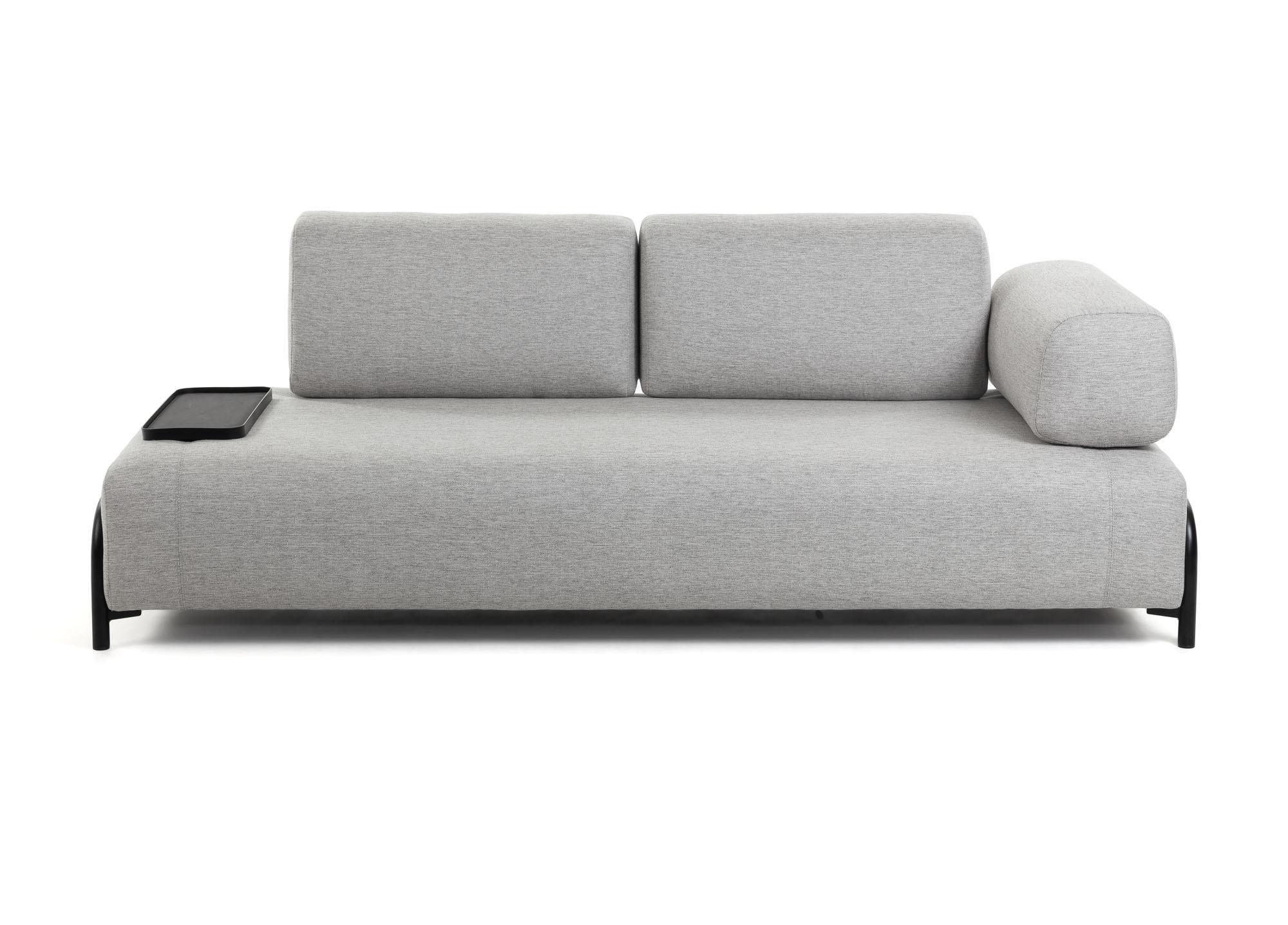 La forma трехместный диван с маленьким подносом compo серый 128450/1