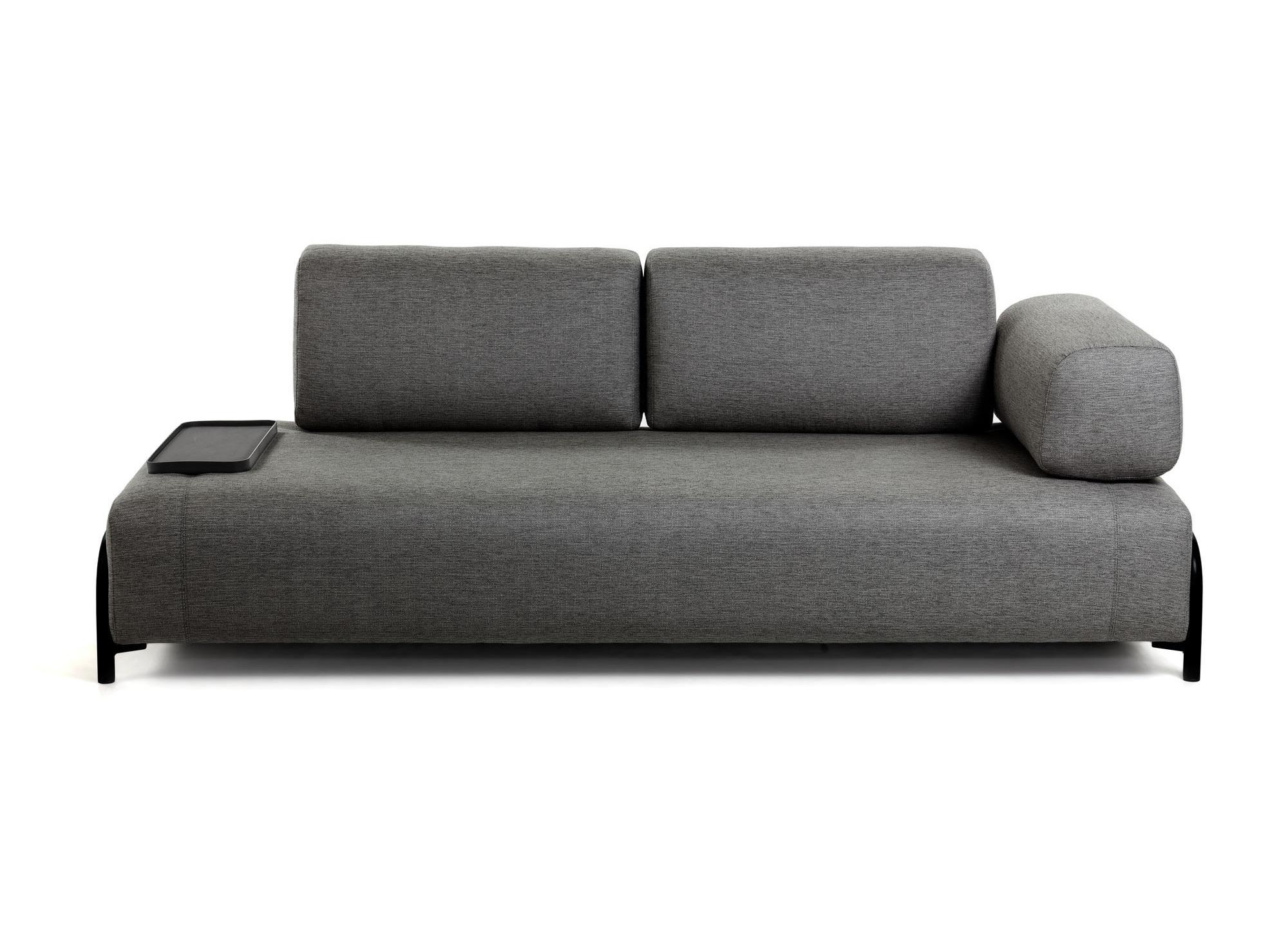 La forma трехместный диван с маленьким подносом compo серый 128451/1