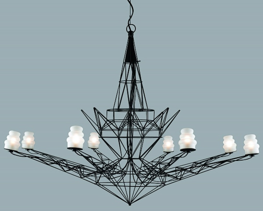 ЛюстраЛюстры подвесные<br>Оригинальная подвесная люстра с космическим дизайном. Черный металлический каркас собран из множества треугольных форм, создавая восьмиконечную звезду, дополненную обтекаемыми плафонами. Прекрасный футуристичный предмет для стильного интерьера.<br><br>Количество ламп: 9<br>Цоколь: G9<br>Допустимая мощность одной лампы, Вт: 40<br>Лампы в комплекте: Да<br><br>Material: Металл<br>Length см: None<br>Width см: None<br>Depth см: None<br>Height см: 200<br>Diameter см: 120