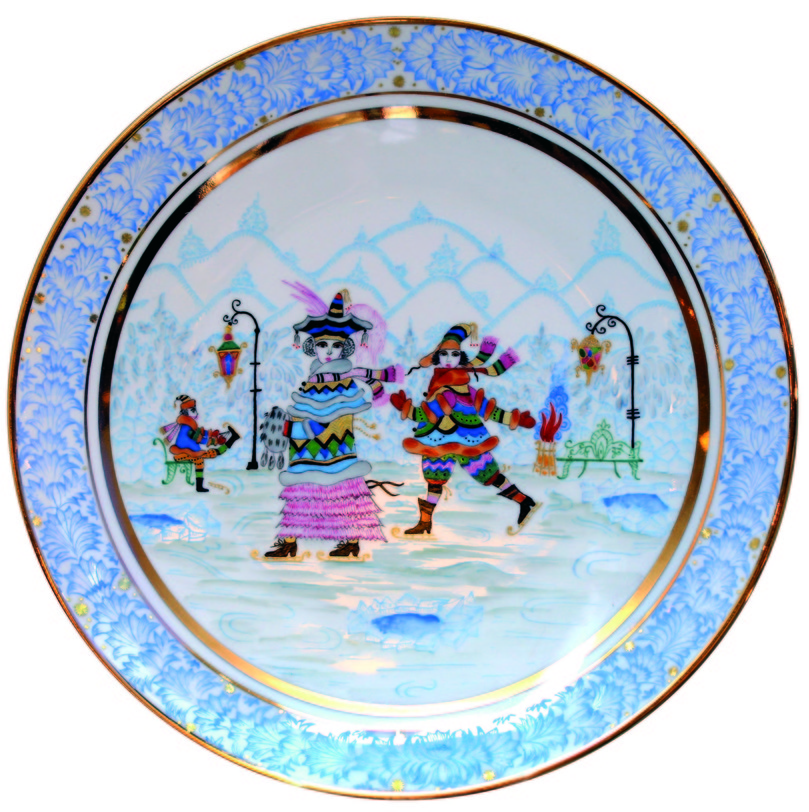 """Тарелка декоративная Зимние забавыДекоративные тарелки<br>Изделия Императорского фарфорового завода сами по себе - уникальные произведения искусства, на протяжении столетий являлись образцом высочайшего качества и изысканности. Тарелка """"Зимние забавы"""" изготовлена из твердого фарфора и расписанная вручную может стать отличным подарком себе и близким людям.<br><br>Материал: твердый фарфор<br><br>Material: Фарфор<br>Diameter см: 19.5"""
